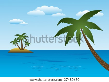 Island With Palm Trees - stock vector