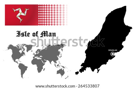 Isle of Man info graphic with flag , location in world map, Map and the capital ,Douglas, location.(EPS10 Separate part by part) - stock vector