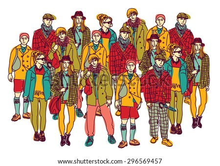 Isolate group young fashion people. Big group of happy people isolated on white. Color vector illustration. - stock vector