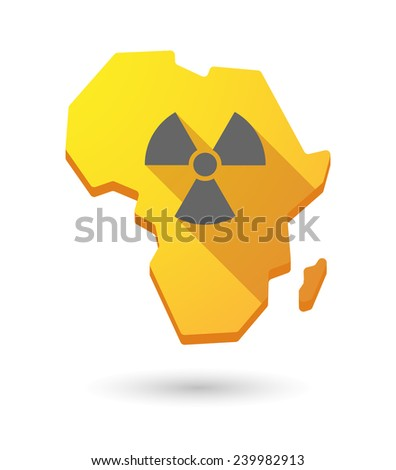 Isolated Africa continent map icon with a radioactivity sign - stock vector