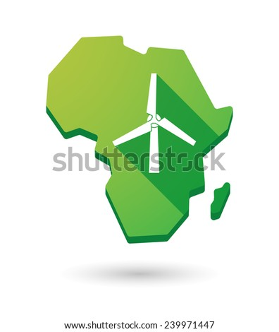 Isolated Africa continent map icon with a wind generator - stock vector