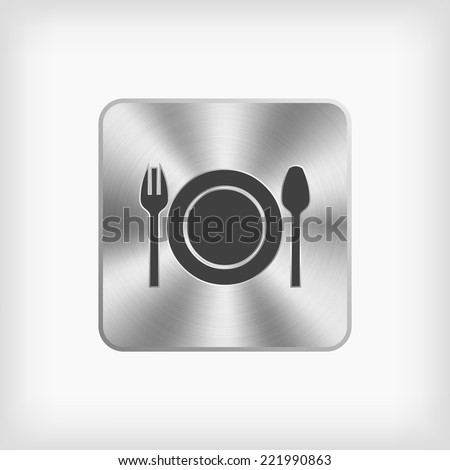 isolated black fork plate and spoon symbol in steel icon on white background(vector) - stock vector