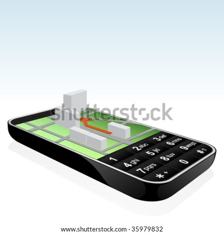 Isolated black mobile phone navigator icon with reflection - stock vector