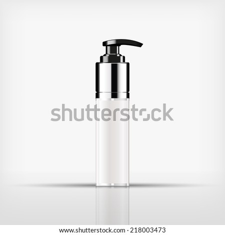 Isolated blank cosmetic black pump top bottle with silver cap on white background (vector) - stock vector