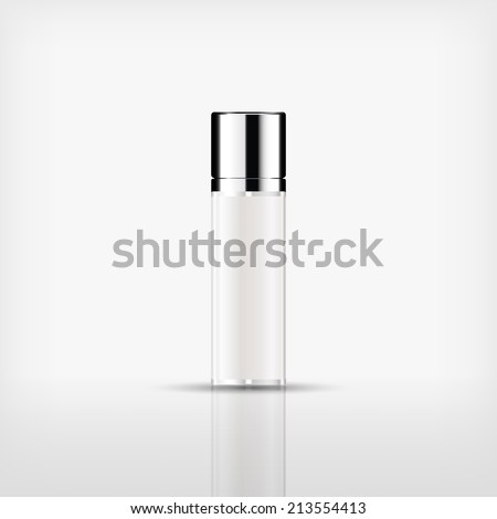 Isolated blank cosmetic bottle with silver cap on white background (vector) - stock vector