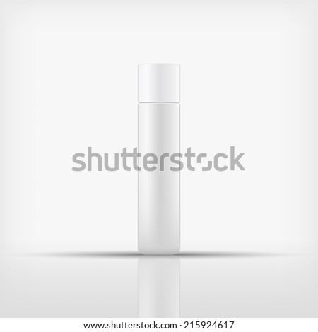 Isolated blank cosmetic bottle with white cap on white background (vector)  - stock vector
