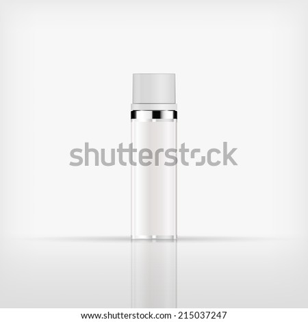 Isolated blank cosmetic silver bottle with white cap on white background (vector)  - stock vector