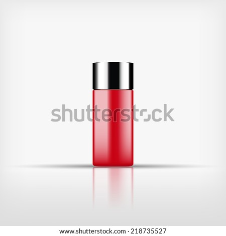 Isolated blank red cosmetic bottle with silver cap on white background (vector) - stock vector