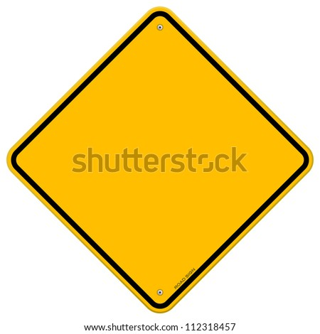 Isolated Blank Yellow Sign - Empty Yellow Symbol isolated on white background - stock vector