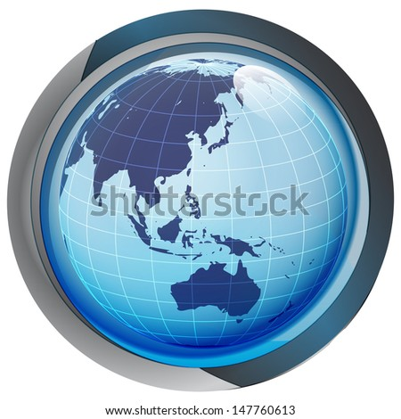 isolated blue circle button with asia on globe vector illustration - stock vector