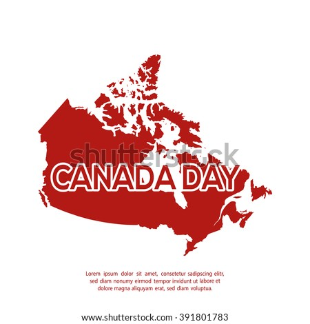 Isolated canadian map on a white background with text - stock vector