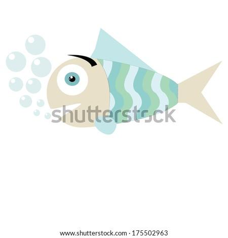isolated cartoon blue fish - stock vector