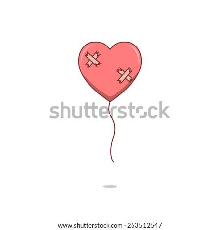 Isolated cartoon broken heart love balloon - stock vector