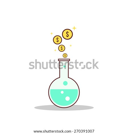 Isolated cartoon formula to getting rich - stock vector