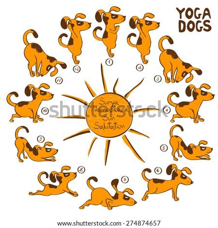 Isolated cartoon funny red dog doing yoga position of Surya Namaskara. - stock vector