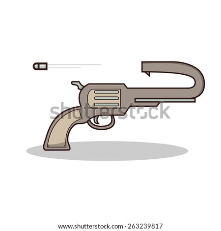 Isolated cartoon suicide gun on fire - stock vector