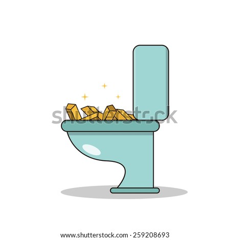 Isolated cartoon treasure gold on toilet - stock vector
