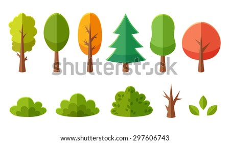 Isolated cartoon trees and bushes pack - stock vector