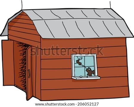 Isolated cartoon wooden barn with broken window - stock vector