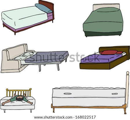 Isolated cartoons of beds over white background - stock vector