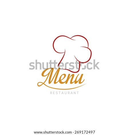 Isolated chef hat on a white background with text. Vector illustration - stock vector