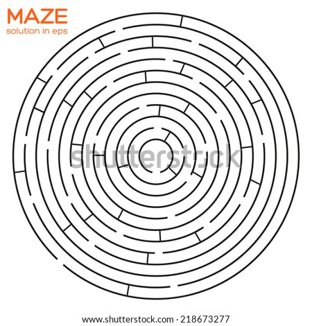 Isolated circular maze with solution in eps - stock vector