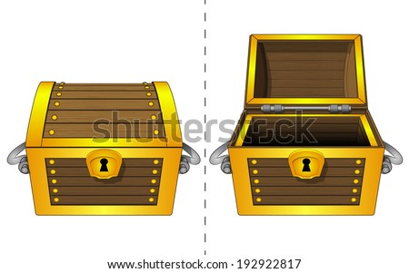 isolated closed and open wooden gold chest vector illustration - stock vector