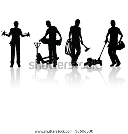 Isolated construction workers silhouettes with different tools - stock vector