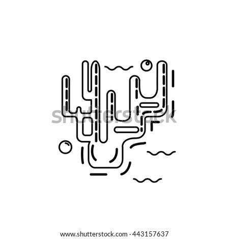 Isolated coral in thin line stile. Coral vector icon. - stock vector
