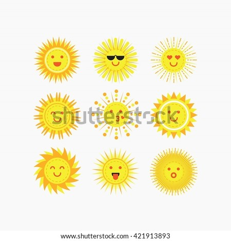 Isolated cute emotional smiling sun faces icons set on white background - stock vector