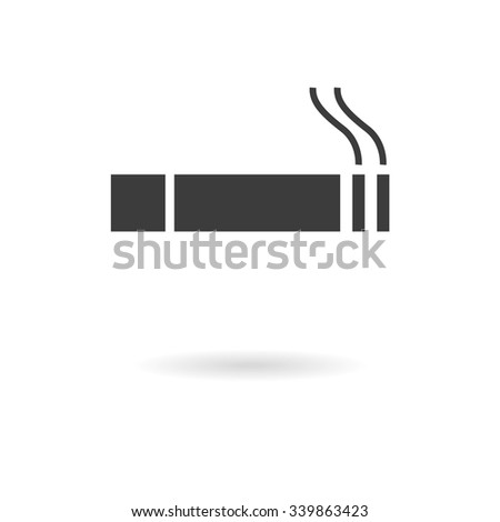 Isolated dark grey icon of smoking cigarette (smoking allowed) on white background with shadow - stock vector