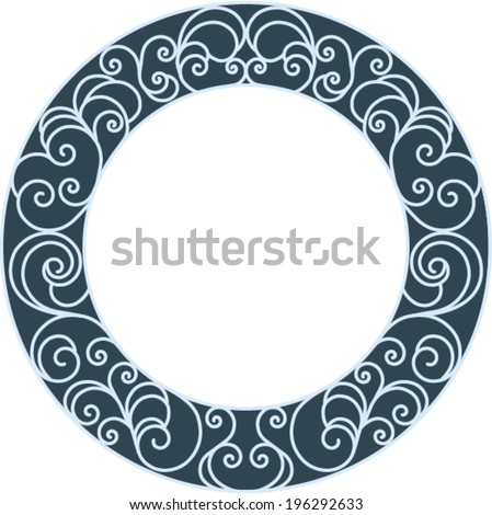 Isolated deco abstract art color round frame with scrolls ornaments - stock vector