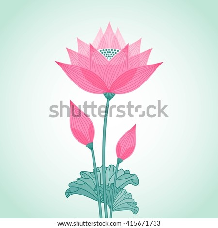 isolated decorative stylized lotus flower with two buds - stock vector