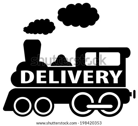 isolated delivery train icon on white background - stock vector