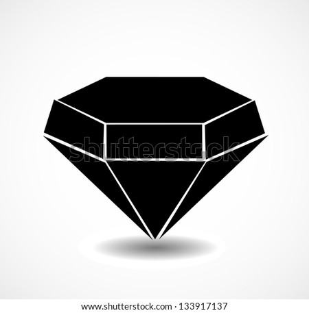 Isolated diamond, jewel icon on white background. Vector illustration. - stock vector