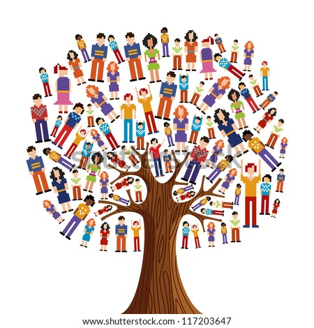 Isolated diversity tree with pixelated people illustration. Vector file layered for easy manipulation and custom coloring. - stock vector