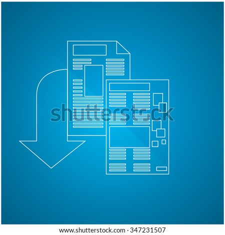 Isolated e-book icon on a blue background - stock vector