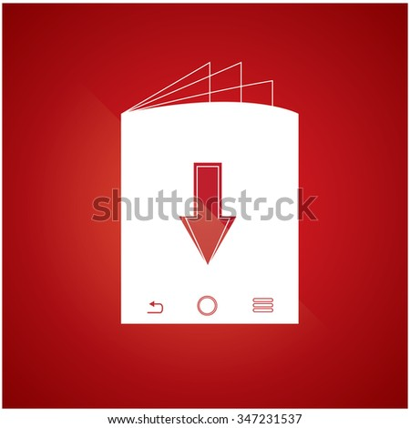 Isolated e-book icon on a red background - stock vector