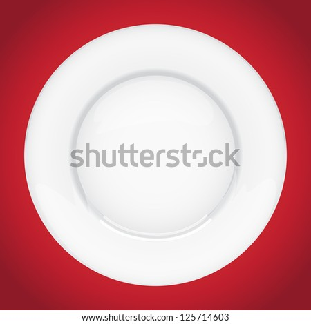 Isolated empty plate on white background - stock vector