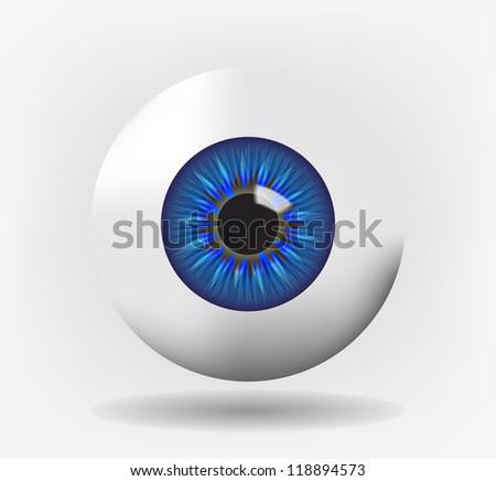 Isolated eyeball with blue iris, eps10 vector - stock vector