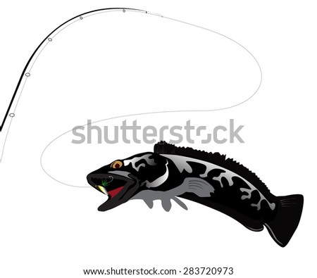 isolated fishing rod  - stock vector