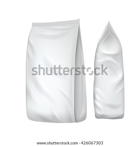 Isolated foil bag. Blank packaging. Chips bag. Blank foil bag. Plastic bag. Food pouch. Foil bag mockup. Packaging template. Package blank. Food packaging. 3d realistic foil bag. Vector packaging. Bag - stock vector