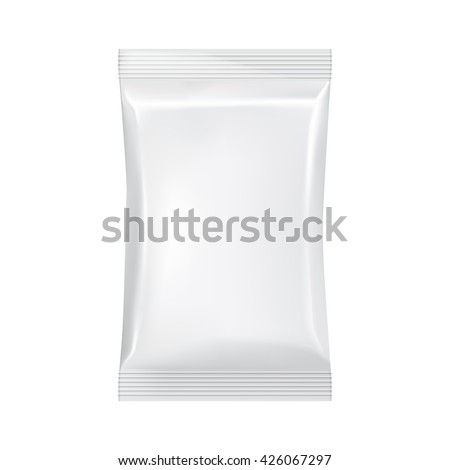 Isolated foil bag. Blank packaging. Plastic packaging. Packaging mockup. Packaging template. Package blank. Food packaging. 3d realistic foil package. Vector packaging. Package for food. Clear package - stock vector