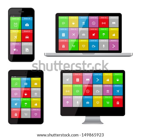 Isolated gadgets with ui and web icons including flat design. EPS10 vector illustration. - stock vector
