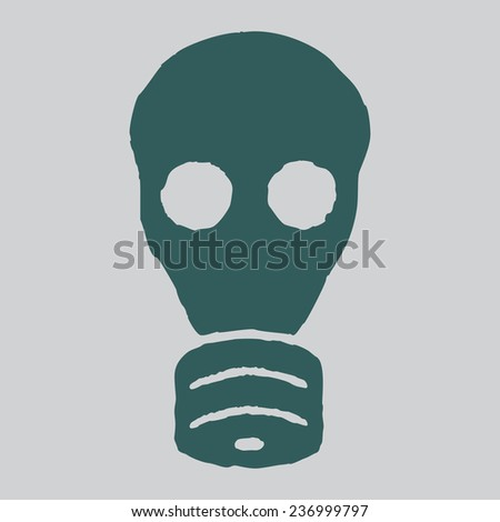 Isolated gas mask. Vector grunge illustration. Cncept of radiation, biological and bacteriological safety. - stock vector