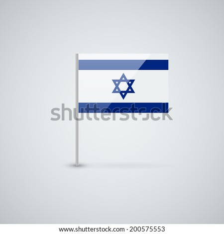 Isolated glossy icon with national flag of Israel. Correct proportions. - stock vector