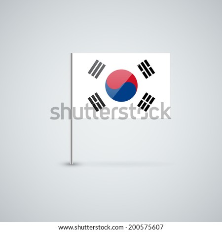 Isolated glossy icon with national flag of South Korea. Correct proportions and color scheme. - stock vector