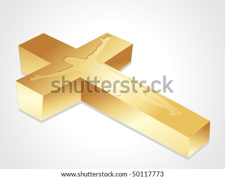 isolated golden cross with jesus christ on white background - stock vector