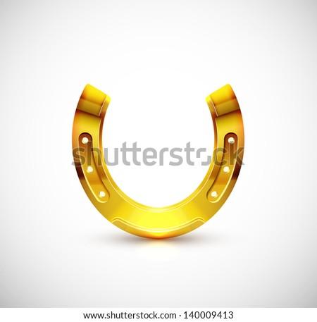 Isolated golden horseshoe. Eps 10 - stock vector