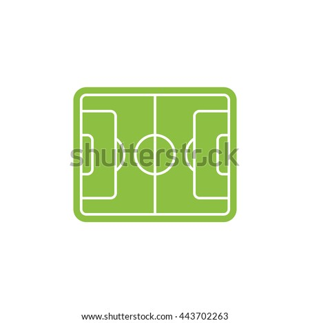 Isolated green color football, soccer field vector logo. Graphic sport illustration. - stock vector